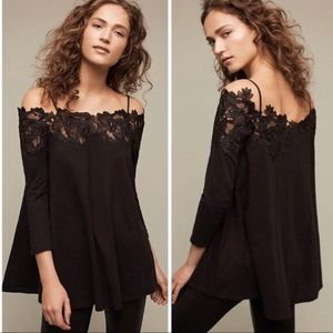 Anthropologie Meadow Rue Black Lace top size M